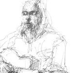 Rysunek Małgorzaty Kulczyk - A. Sikorowski z gitarą