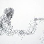 Rysunek Małgorzaty Kulczyk - B. Hołownia przy fortepianie