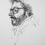 Rysunek Małgorzaty Kulczyk - Grzegorz Turnau z profilu